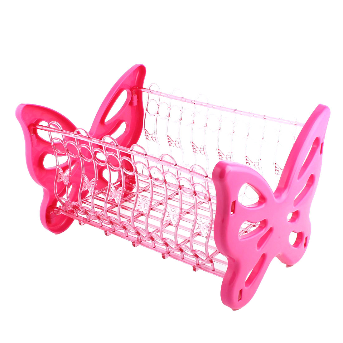 Household Bathroom Butterfly Design PP Hollow Out Storage Rack Basket Holder Pink