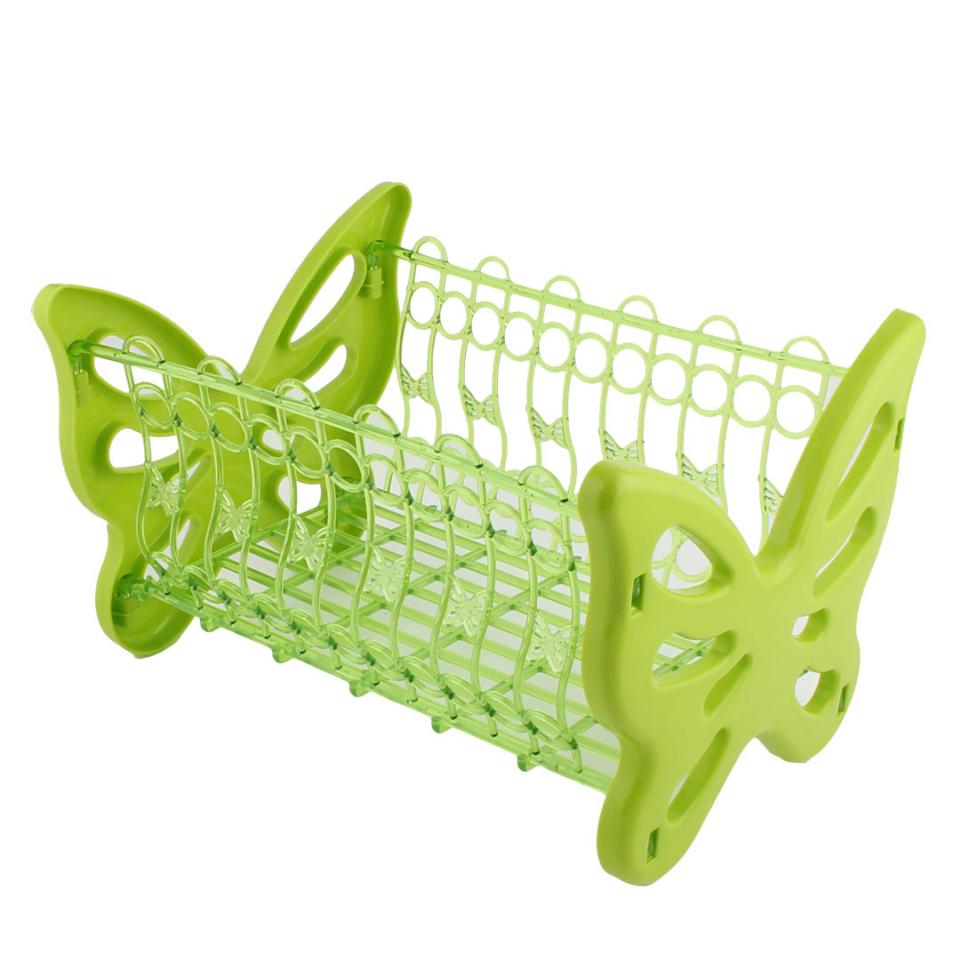 Household Bathroom Butterfly Design PP Hollow Out Storage Rack Basket Holder Green