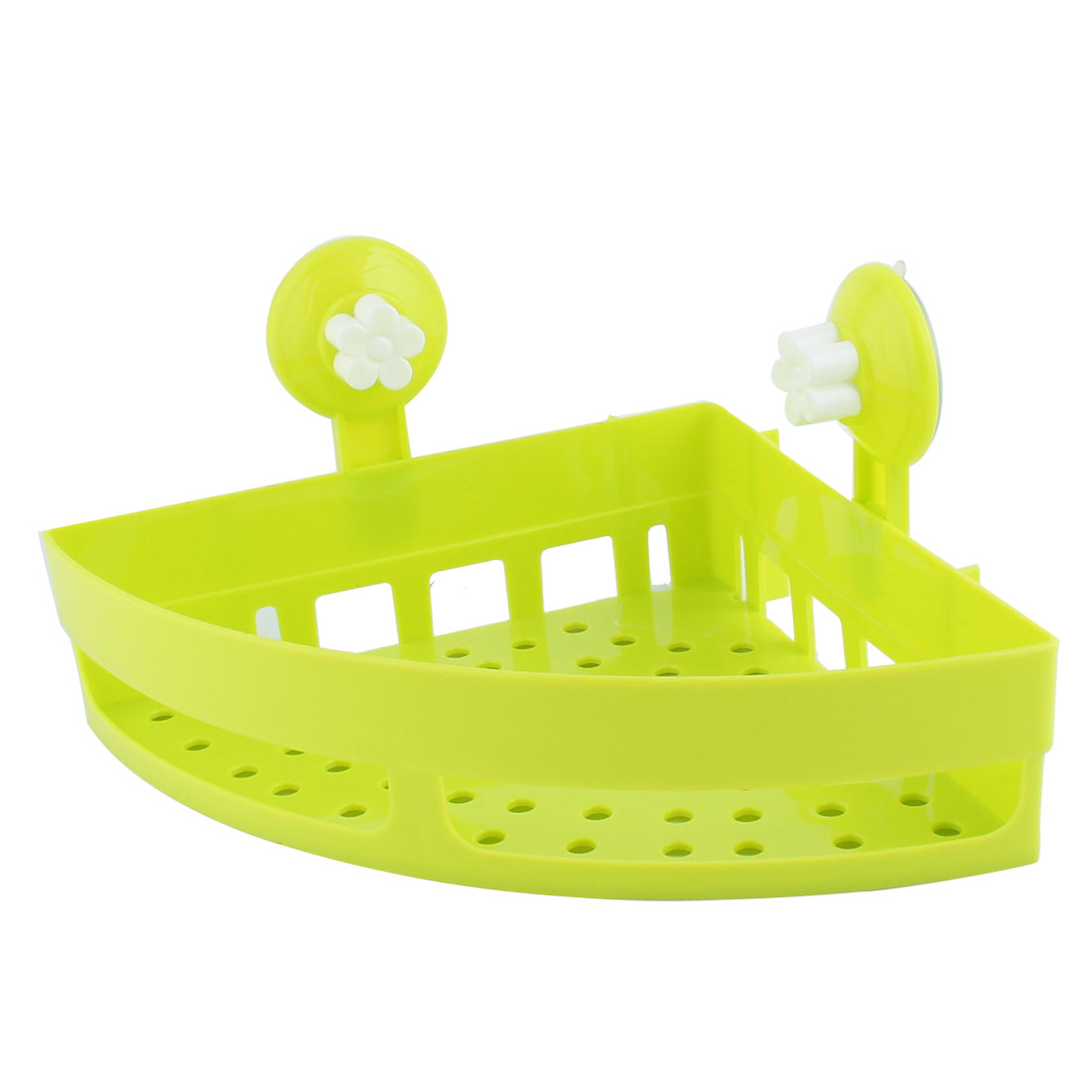Bathroom Wall Triangle Plastic Commodity Organize Suction Cup Shelf Holder Green