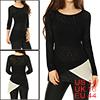 Women Asymmetrical Color Blocked Chiffon Panel Tunic Knit Top Black L