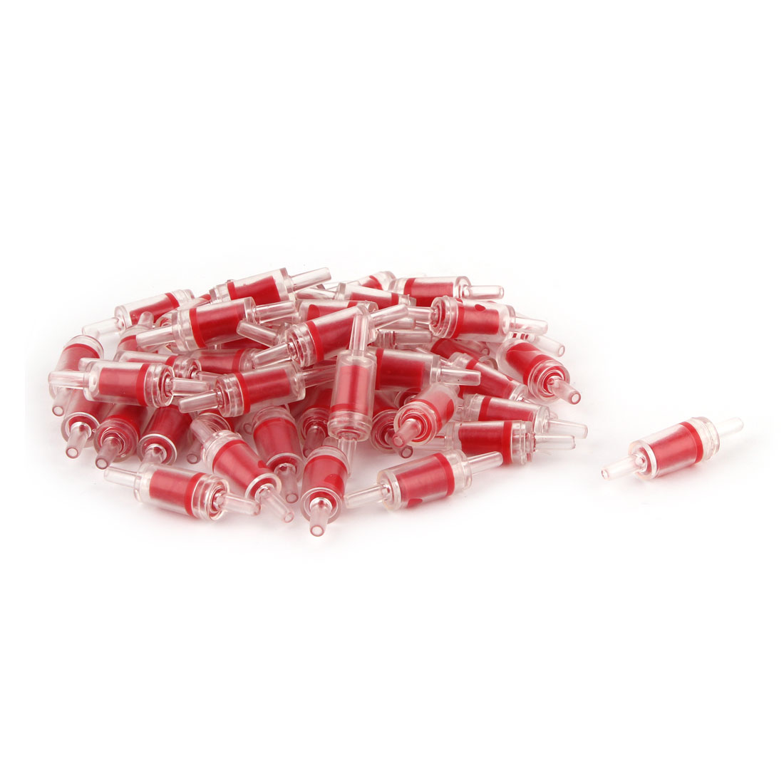 Plastic Aquarium Fish Tank Air Pump Check Valves Red Clear 50 Pcs