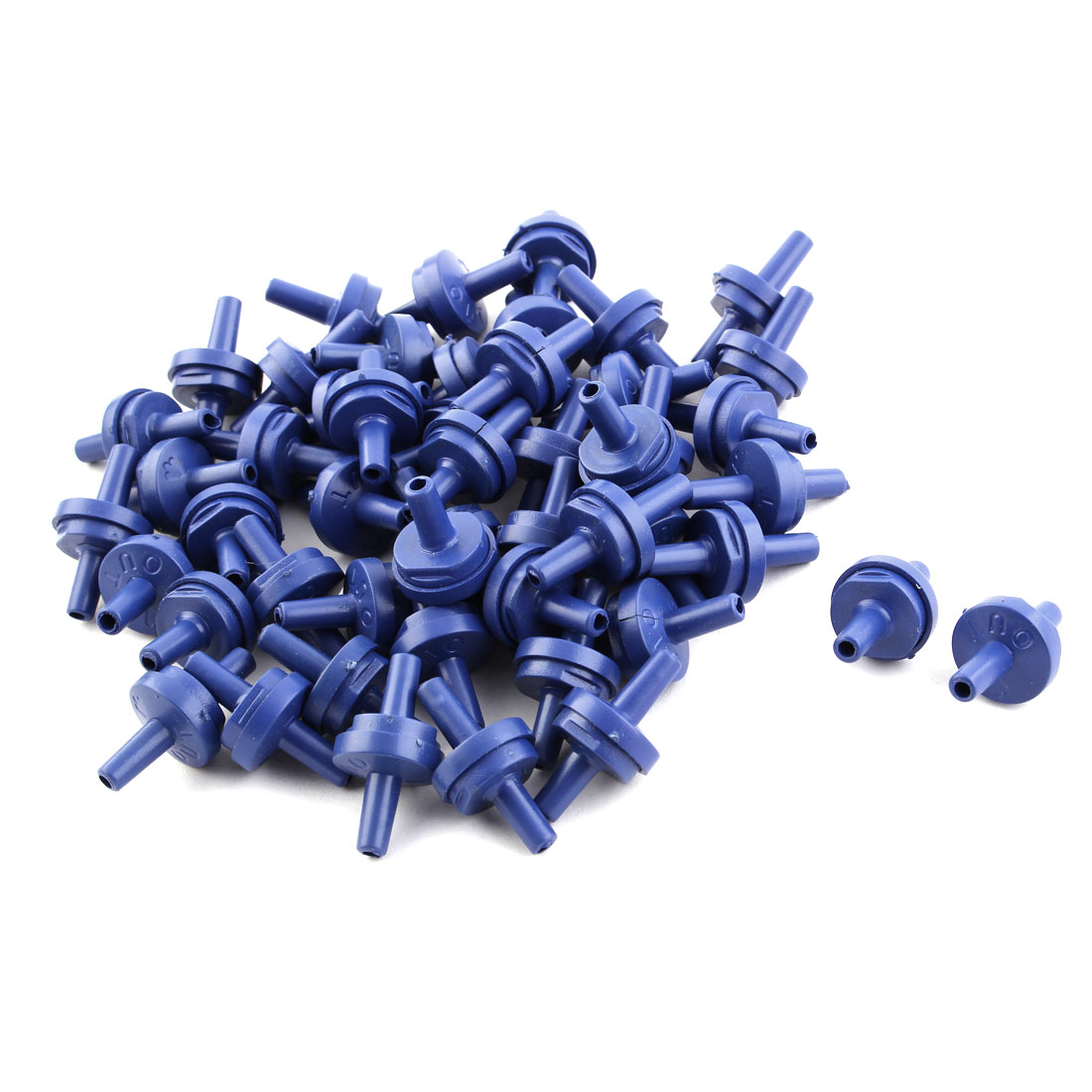 Aquarium Plastic Air Pump Double Head Check Valves Blue 50 PCS