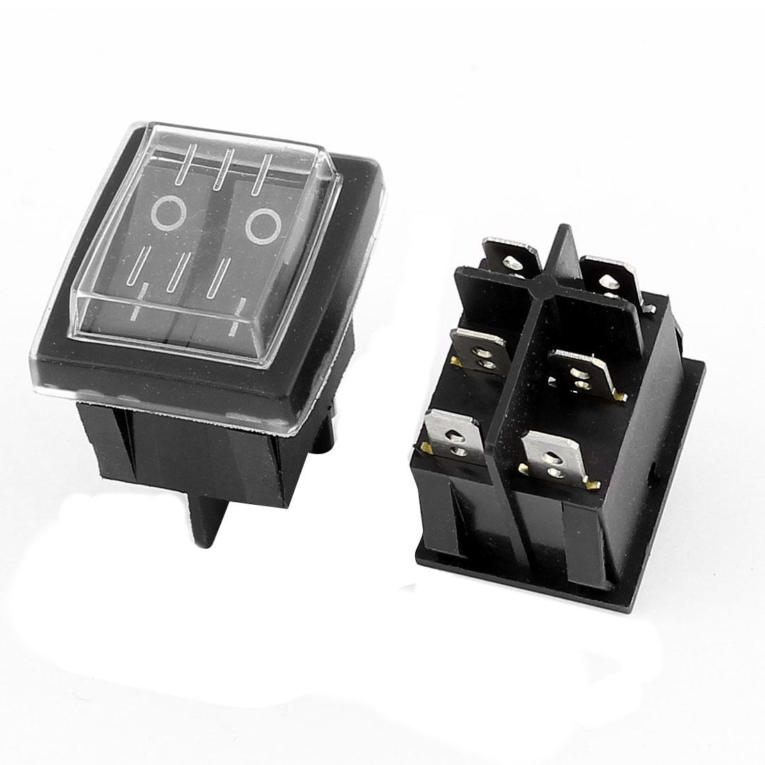 2Pcs Dual Snap In Mount I/O 2 Position DPST Rocker Switch AC 250V/15A 125V/20A