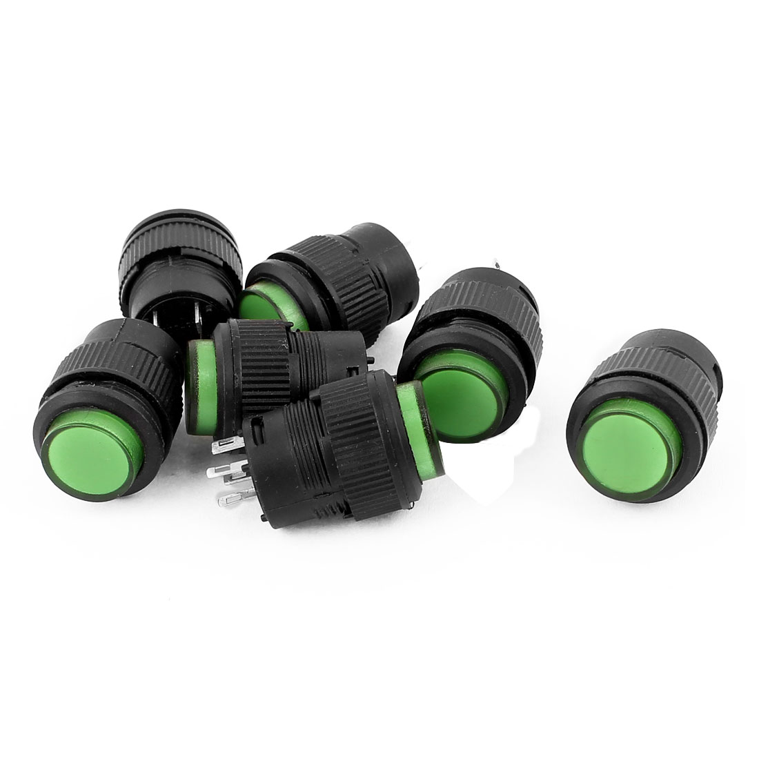 7Pcs DC 12V SPST 4 Pin Momentary Green Indicator Lamp Push Button Switch