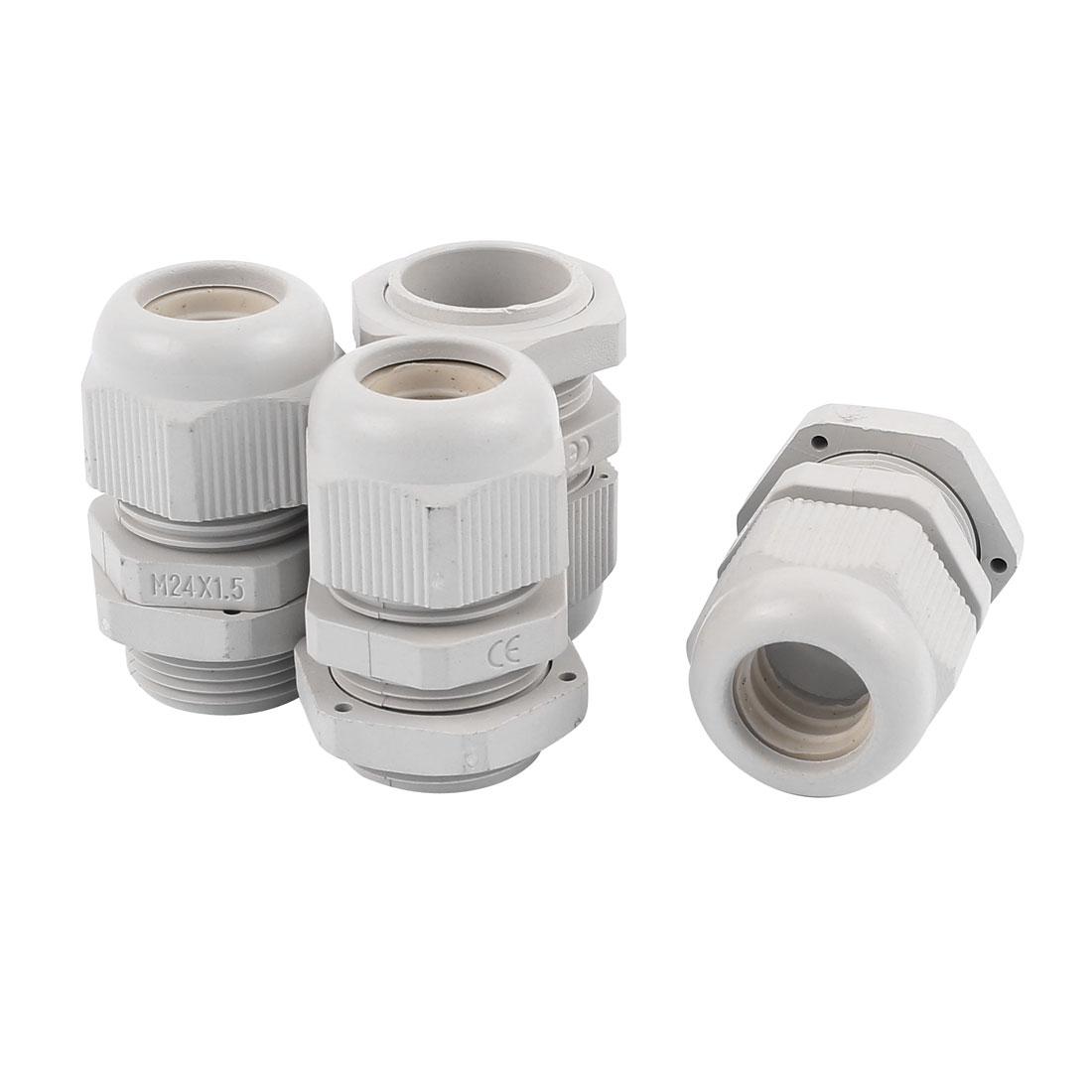 4Pcs Gray Plastic Waterproof Connectors Cable Glands Joints M24 x 1.5