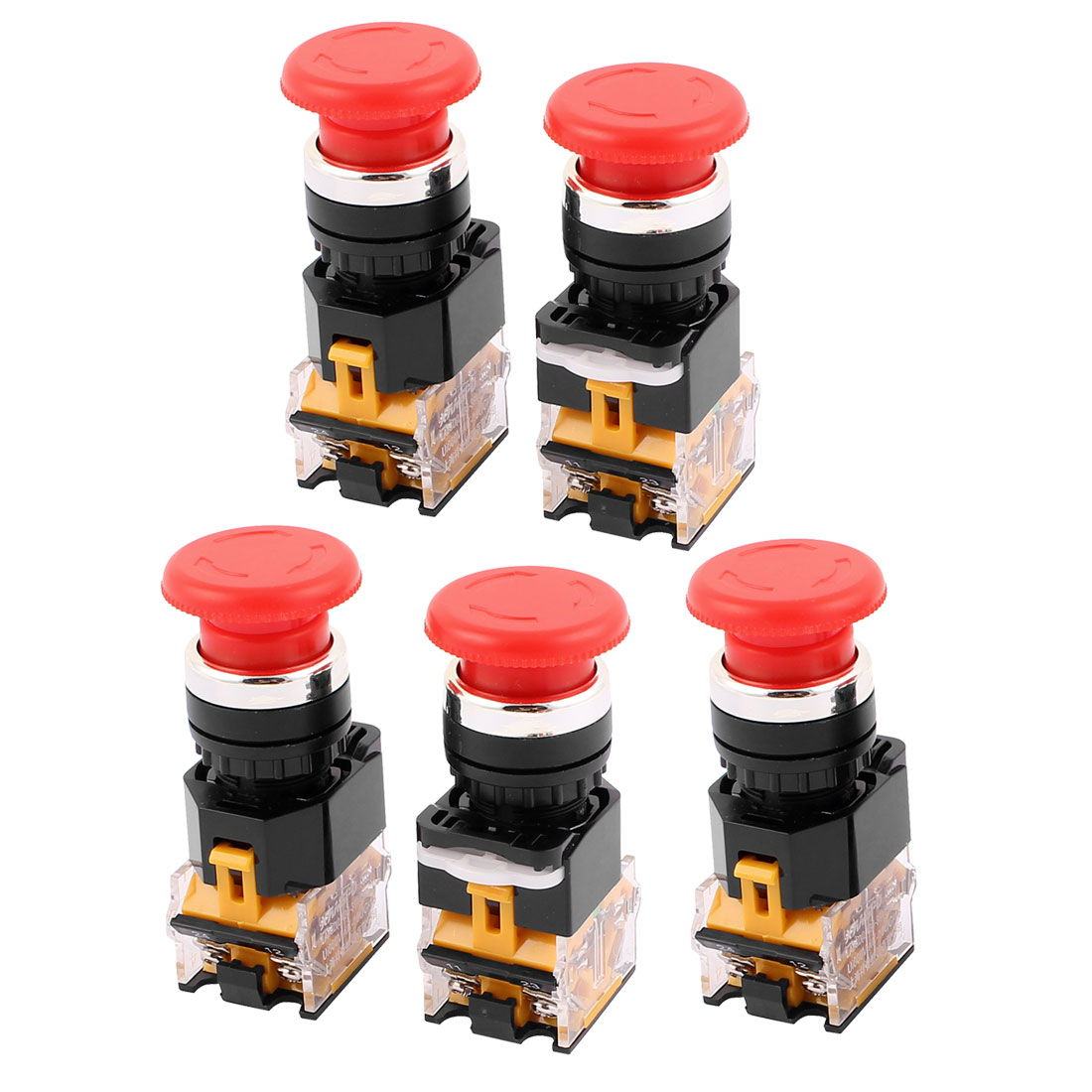 AC 660V 1NO 1NC DPST 4 Pin Latching Emergency Stop Push Button Switch 5Pcs