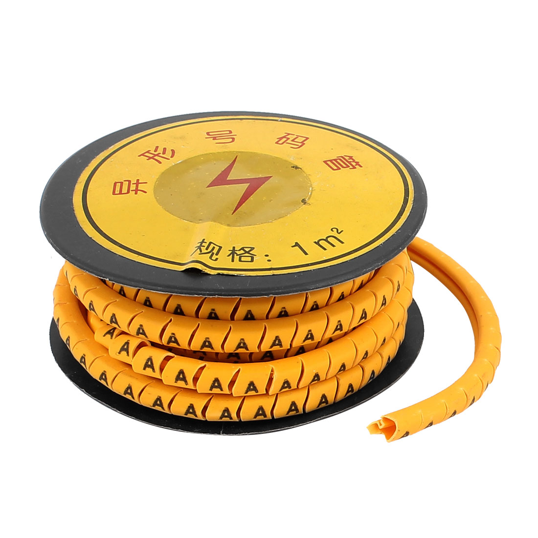 2M Length Flexible PVC Number A Print 1.5mm2 Wire Cable Markers Label Yellow