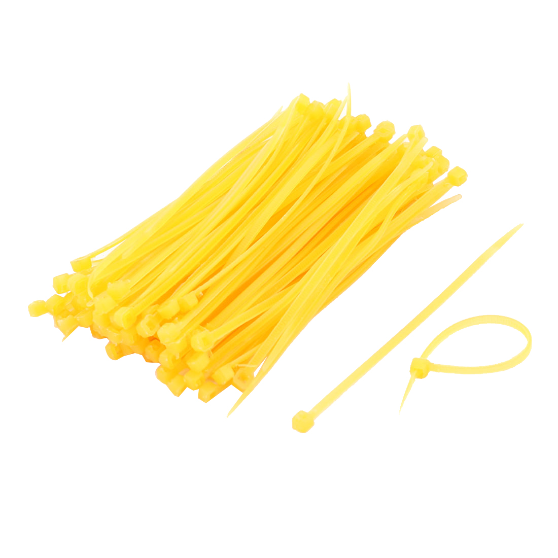 3 x 98mm Plastic Self-Locking Cable Zip Ties Straps Fasten Wrap Yellow 100 Pcs