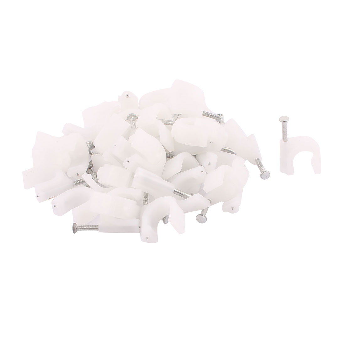 40 Pcs 9mm Diameter Coax Cable Inserting Circle Nail Clips White