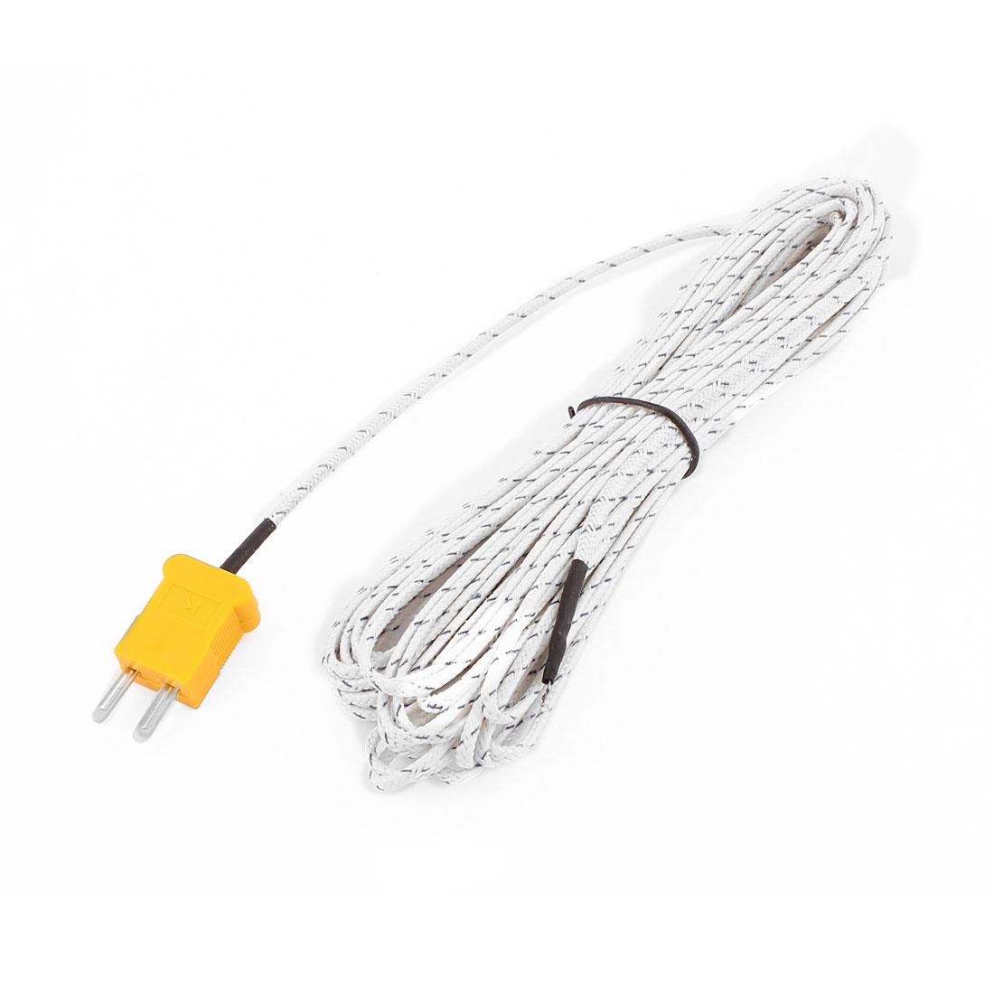 K Type Temperature Measurement Thermocouple Sensor Probe Cable -50 to +204C 10M
