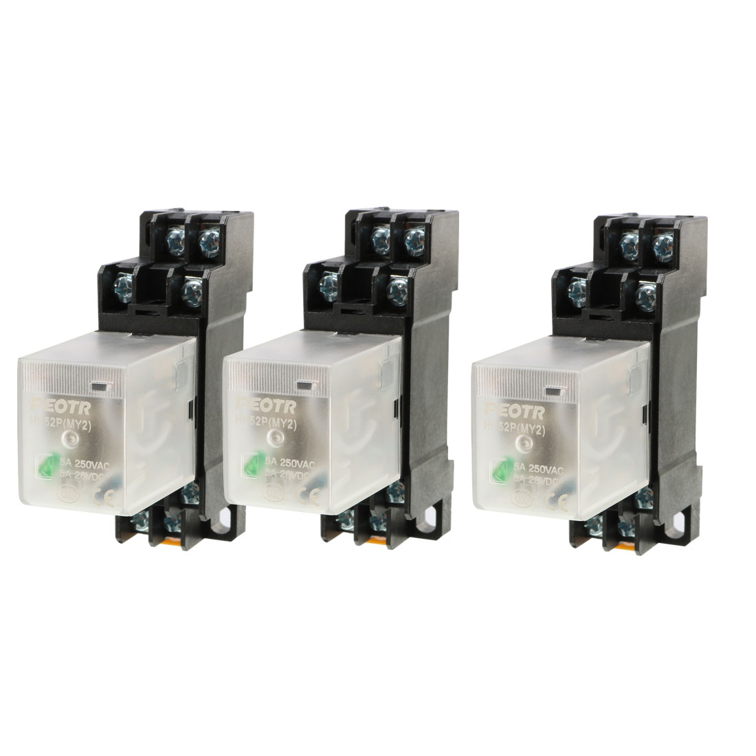 3Pcs HH52P DC 24V Coil Voltage 8Pin DPDT Power Electromagnetic Relay w Socket