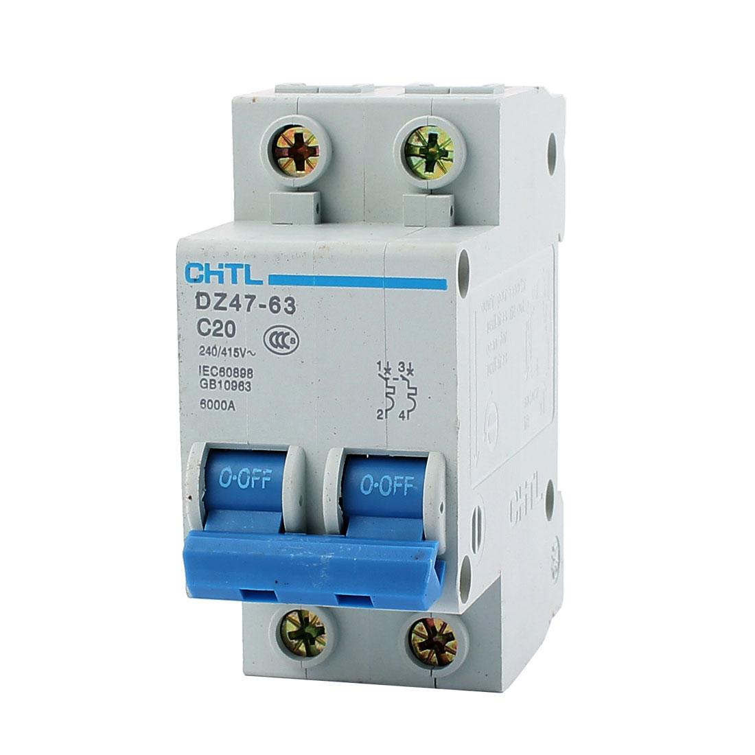 DZ47-63 C20 2 Pole Overload Miniature Circuit Breaker AC 240V/415V 20A