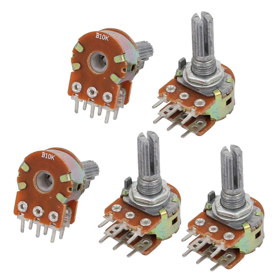 5 Pcs B10K 10K Ohm 6 Terminals Quadruple Linear Adjustable Rotary Knob Potentiometers