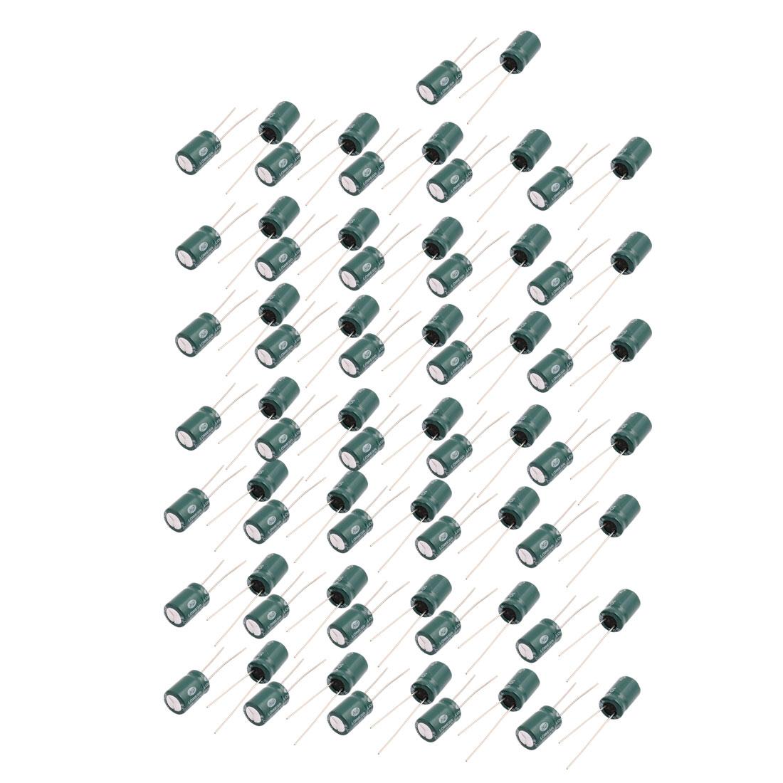 72Pcs 10V 470UF Aluminum Electrolytic Capacitors -40C - +105C degree Celsius 8.2x12.6mm