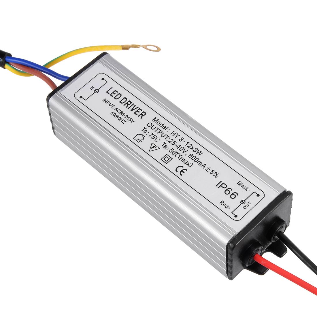 AC 85-265V to DC 25-40V 600mA IP66 8-12x3W LED Lightstrip Power Supply Driver