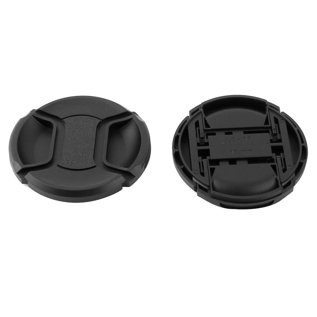 DSLR Camera Plastic Universal 67mm Center Pinch Front Lens Cap Black 2 Pcs
