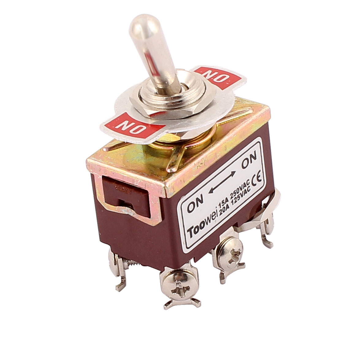 AC 250V/15A 125V/20A 6 Terminals DPDT 2-Position ON/ON Latching Toggle Switch
