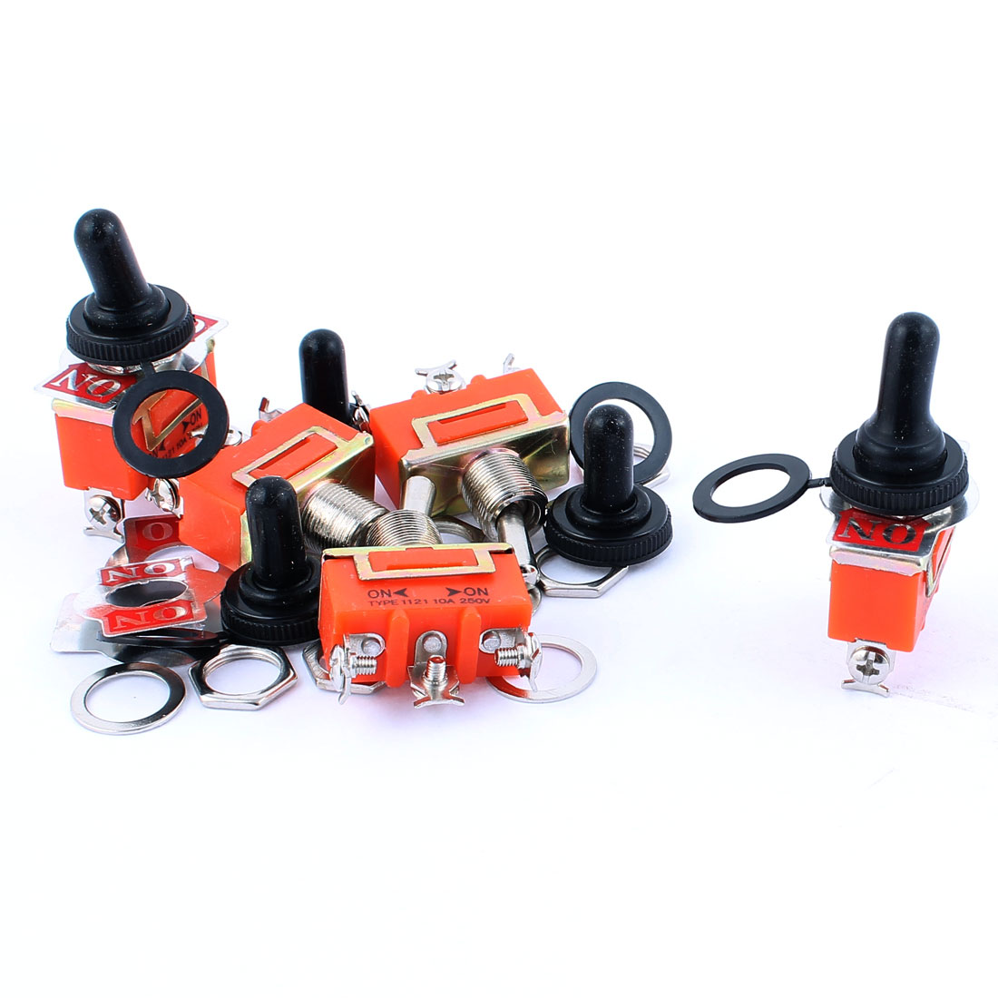 5Pcs AC 250V 10A SPDT ON-ON 2 Positions Latching Toggle Switch Orange w Cap