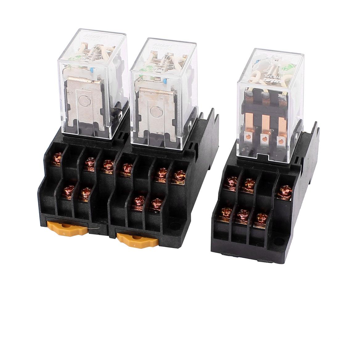 3Pcs HH53P-L DC 220VV Coil 11Pin 3NO 3NC Power Relay w PYF11A Socket Base