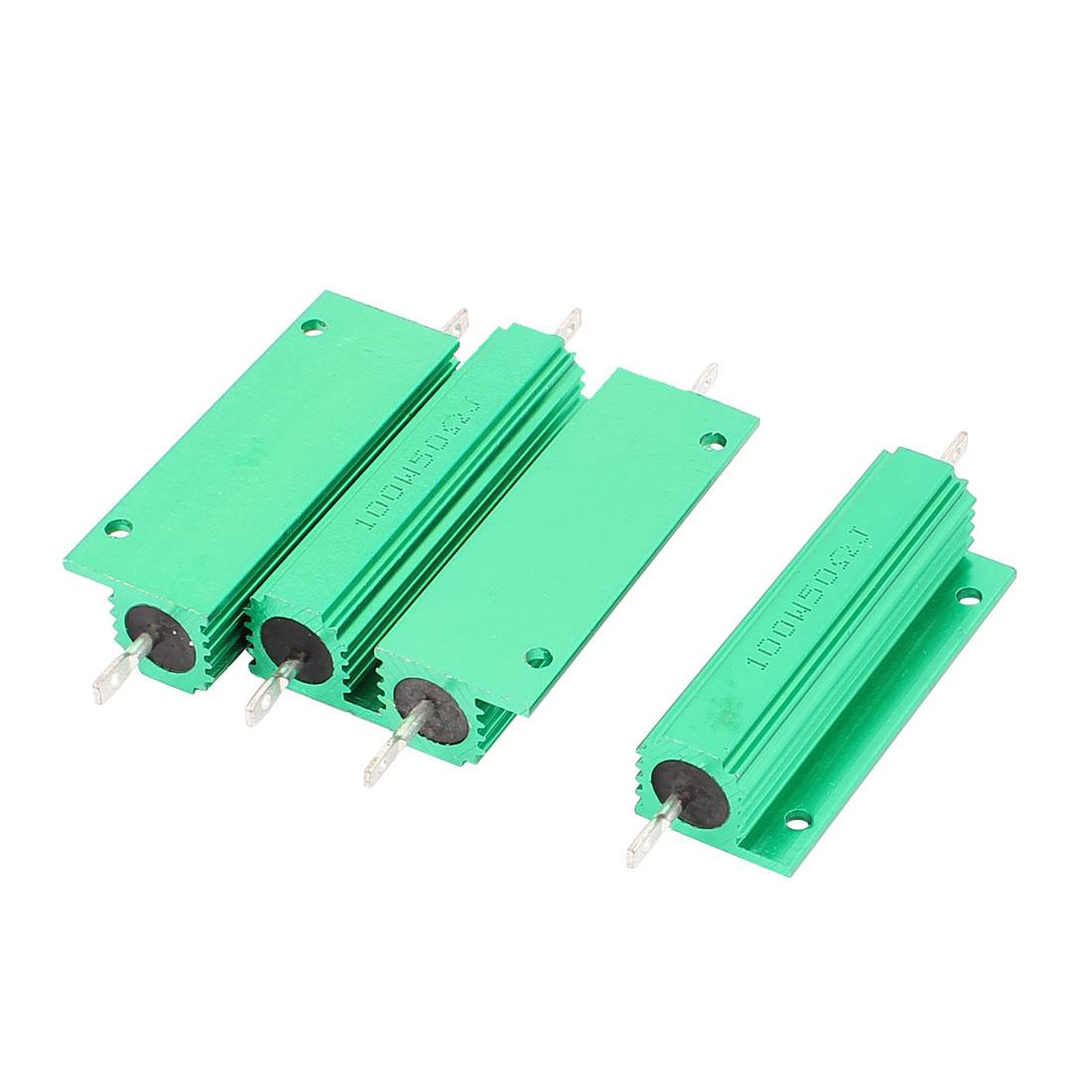 4Pcs Aluminum Housed 100W Watt 50 Ohm 5% Tolerance Fixed Resistor Green