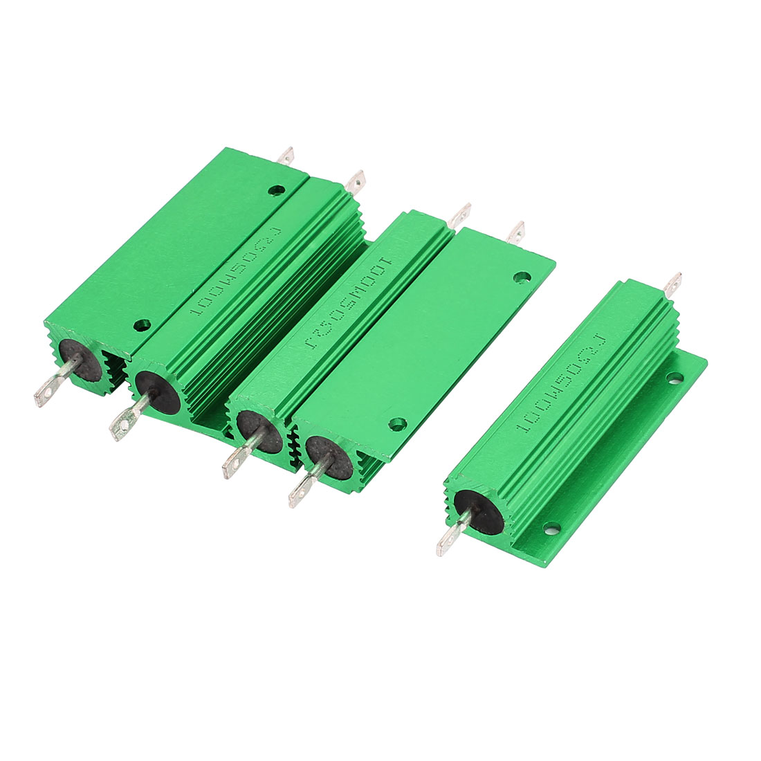 5Pcs Aluminum Housed 100W Watt 50 Ohm 5% Tolerance Fixed Resistor Green