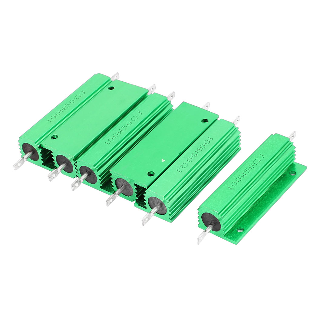 6Pcs Aluminum Housed 100W Watt 50 Ohm 5% Tolerance Fixed Resistor Green