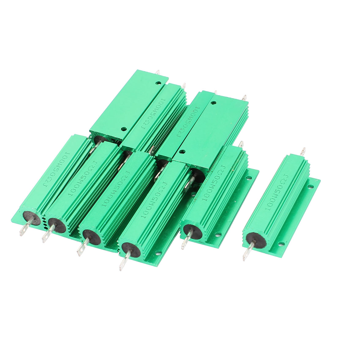 10Pcs Aluminum Housed 100W Watt 50 Ohm 5% Tolerance Fixed Resistor Green