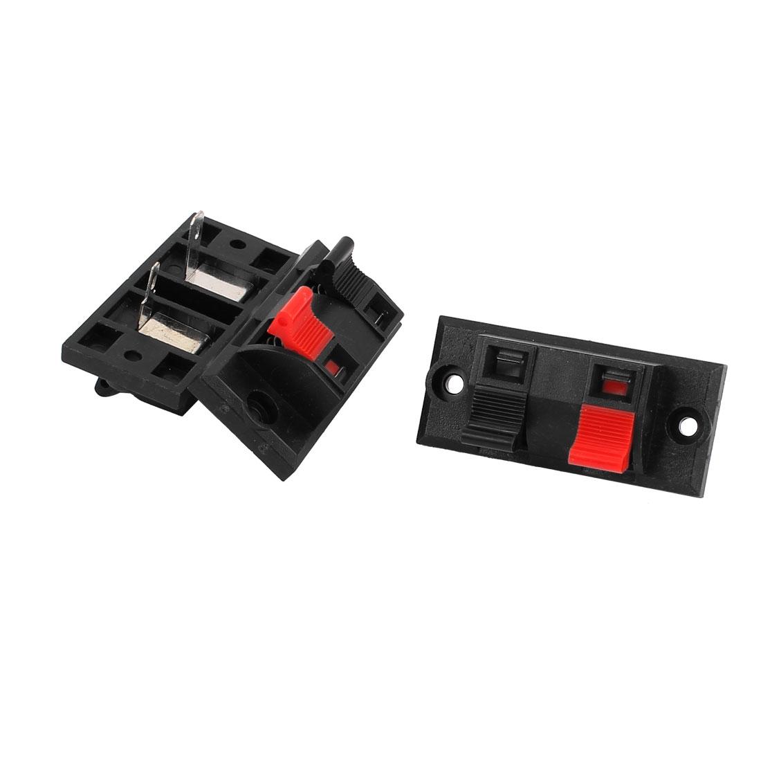 3Pcs 2 Way Jack Socket Spring Push Release Connector Speaker Terminal Block