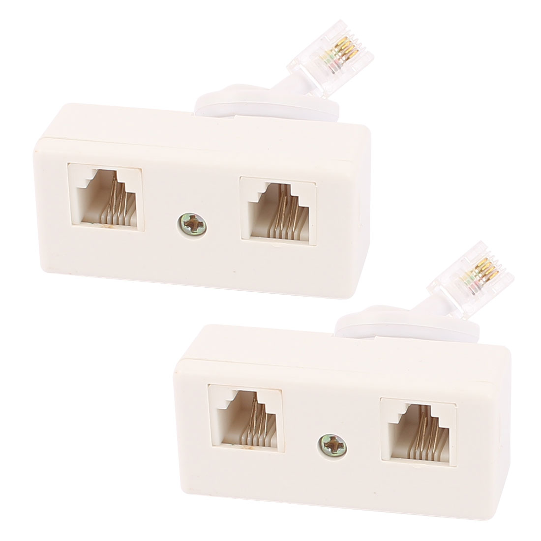 2Pcs RJ11 6P4C US Male to US Dual Female Connector Telephone Cable Adapter