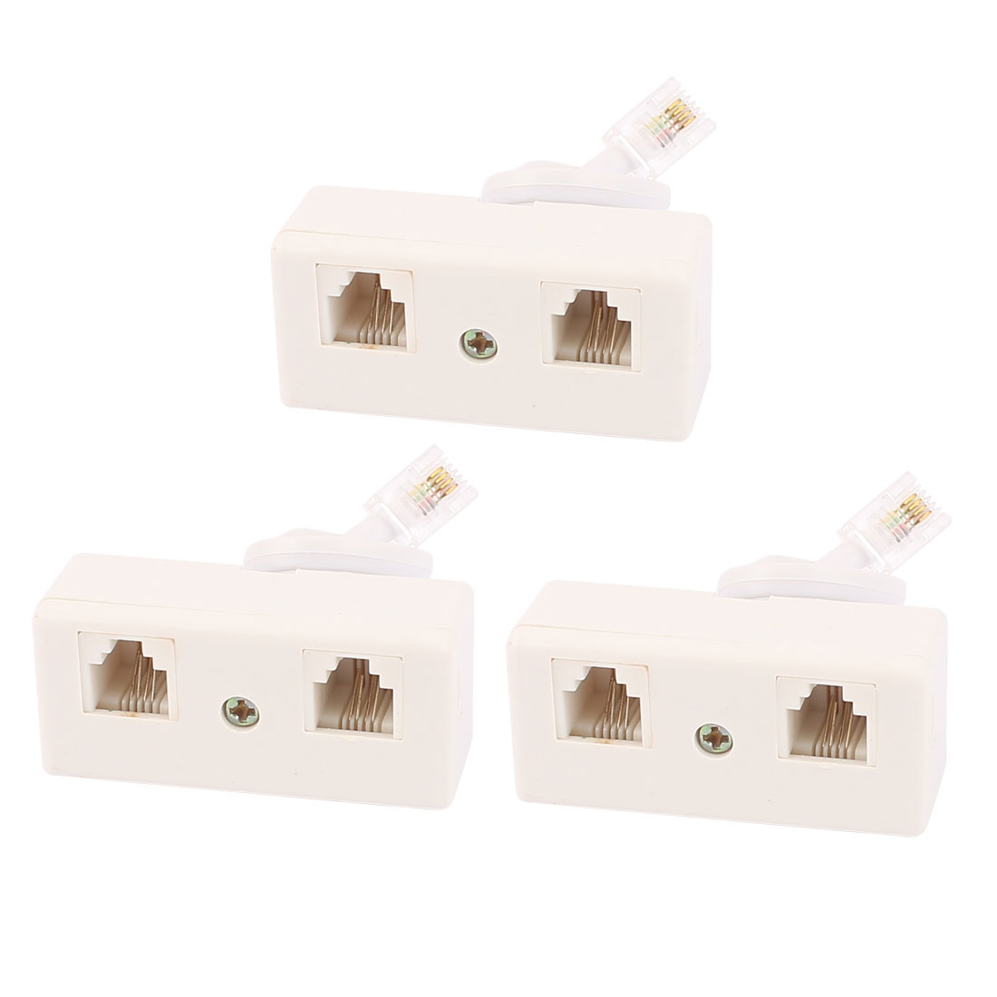 3Pcs RJ11 6P4C US Male to US Dual Female Connector Telephone Cable Adapter