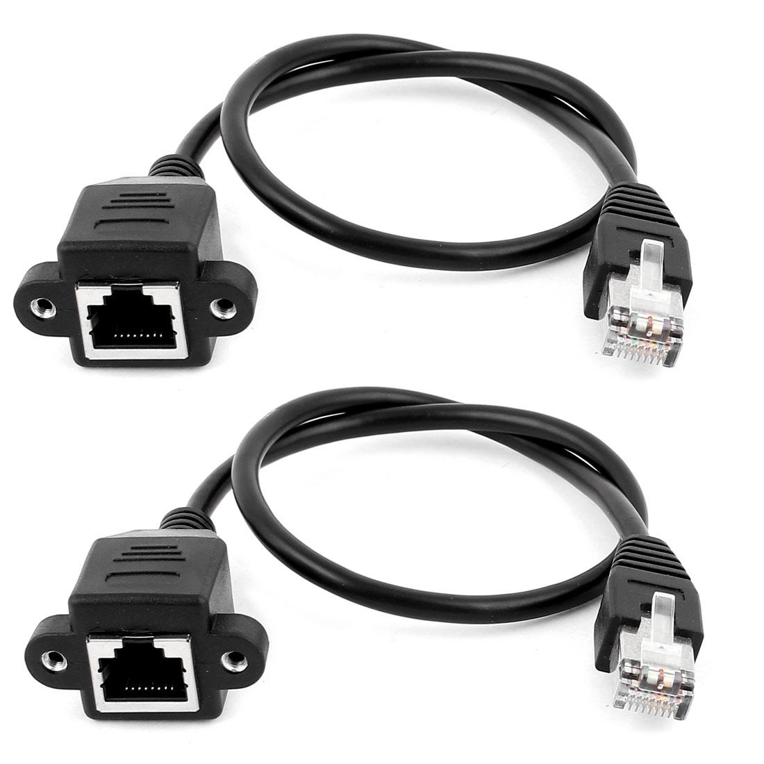 2Pcs 30cm Long RJ45 Male to Female M/F CAT5E LAN Ethernet Adapter Network Cable