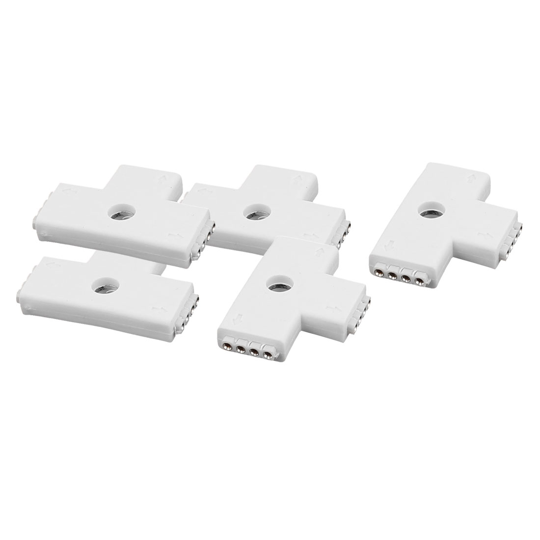 5 Pcs T Shape 3 Way 4P Female Connector White for 5050 RGBW PCB Led Strip Light