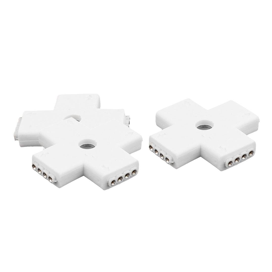 3 Pcs Cross Shape 4 Way 4P Female Connector White for 5050 RGBW Led Strip Light