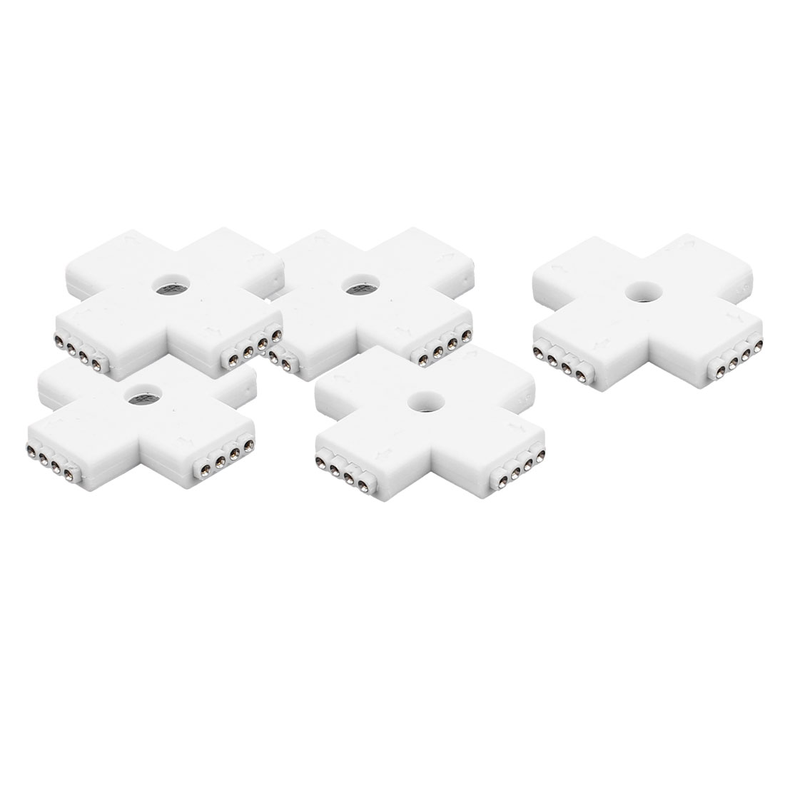 5 Pcs Cross Shape 4 Way 4P Female Connector White for 5050 RGBW Led Strip Light