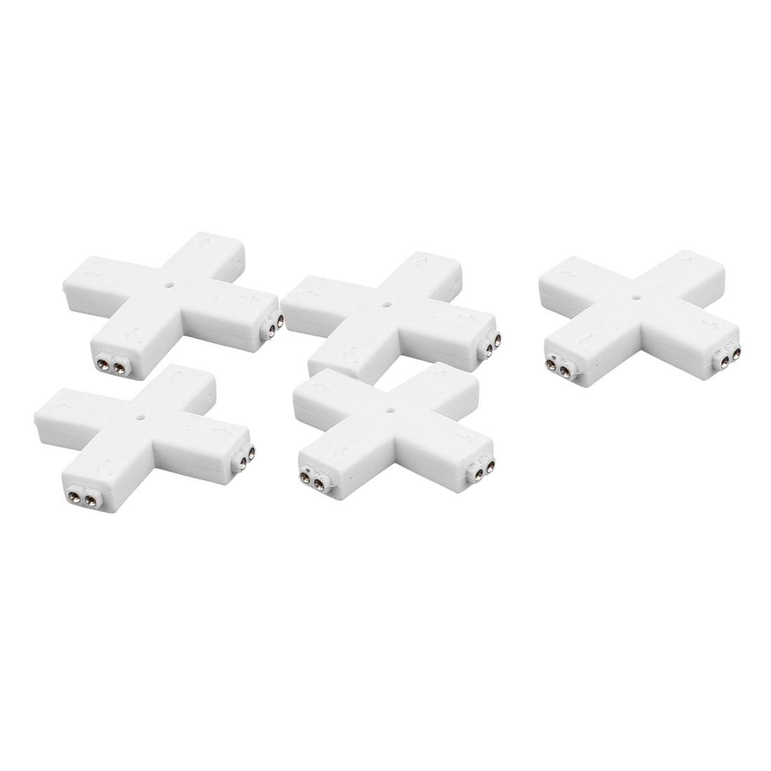 5 Pcs Cross Shape 4 Way 2P Female Connector White for 3528 RGB Led Strip Light
