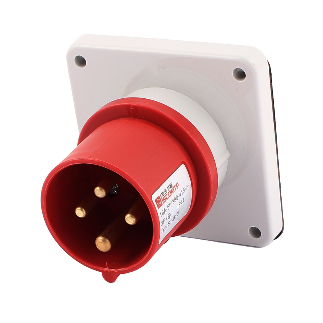 AC 380V-415V 16A IP44 3P+E 4 Terminal Male Industrial Panel Mounting Plug