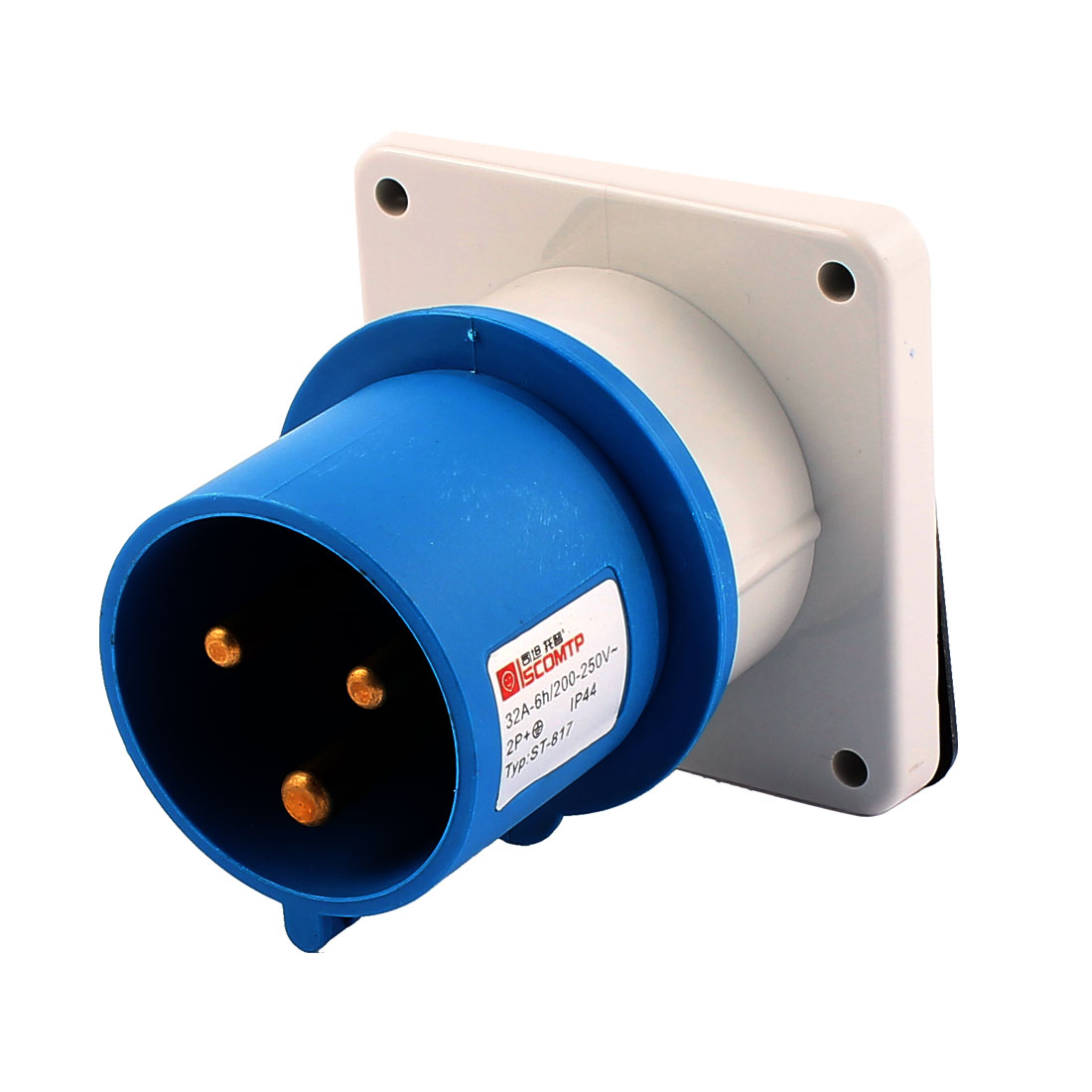 AC 200V-250V 32A IP44 2P+E 3 Terminal Male Industrial Panel Mounting Plug