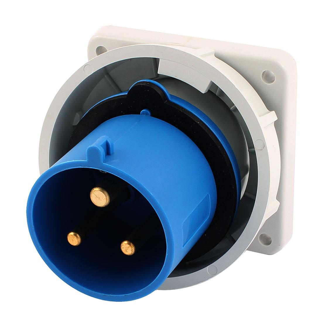 AC 200V-250V 32A IP67 2P+E 3 Terminal Male Industrial Panel Mounting Plug