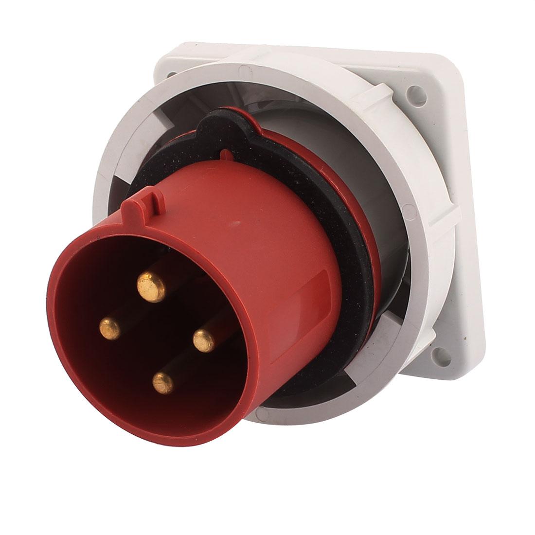 AC 380V-415V 32A IP67 3P+E 4 Terminal Male Industrial Panel Mounting Plug