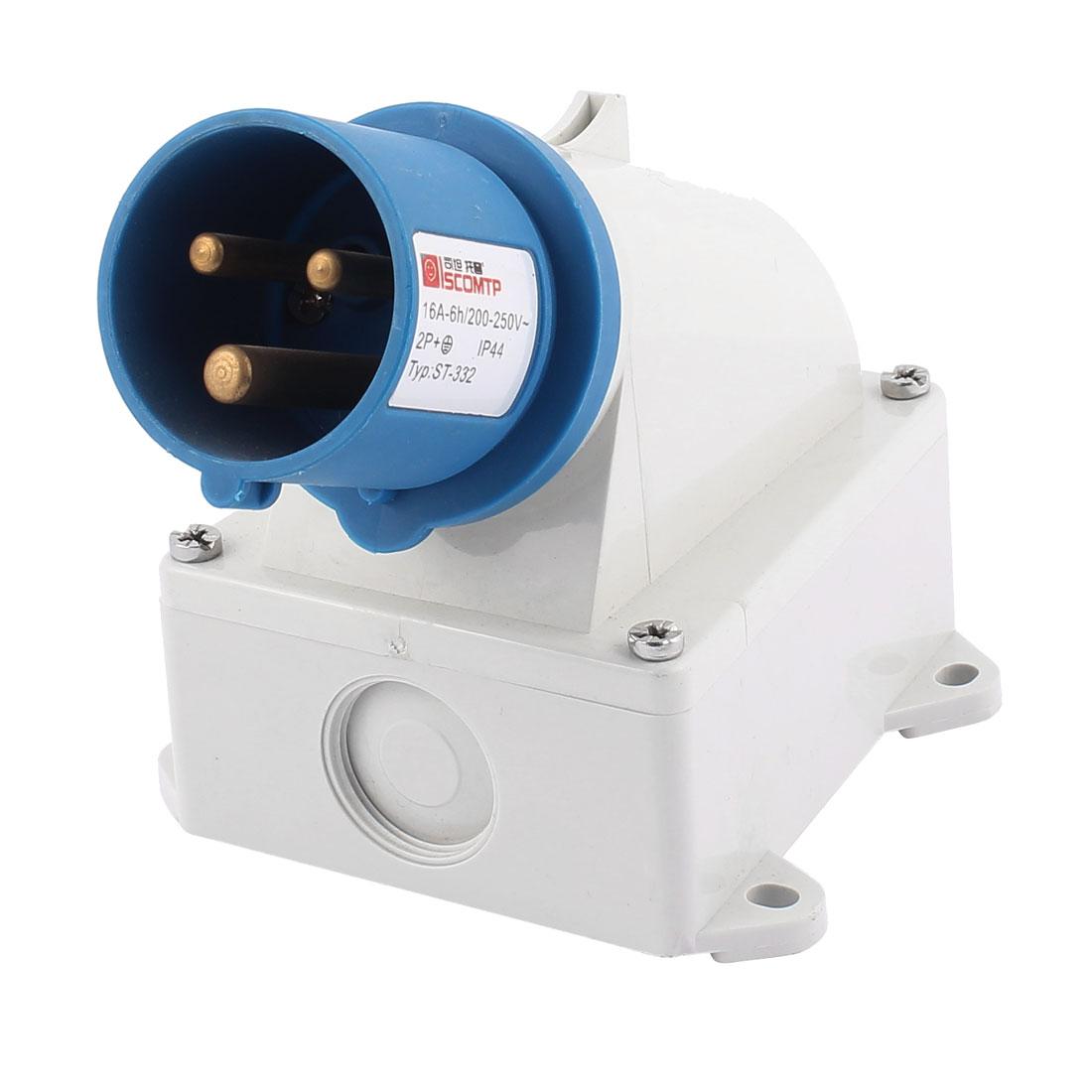 AC 200V-250V 16A IP44 2P+E 3-Terminal Male Industrial Caravan Plug