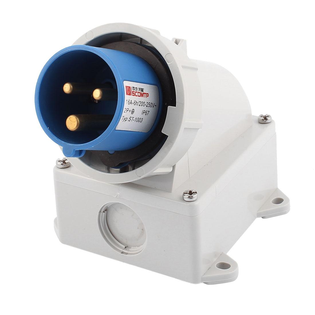 AC 200V-250V 16A IP67 2P+E 3-Terminal Male Industrial Caravan Plug