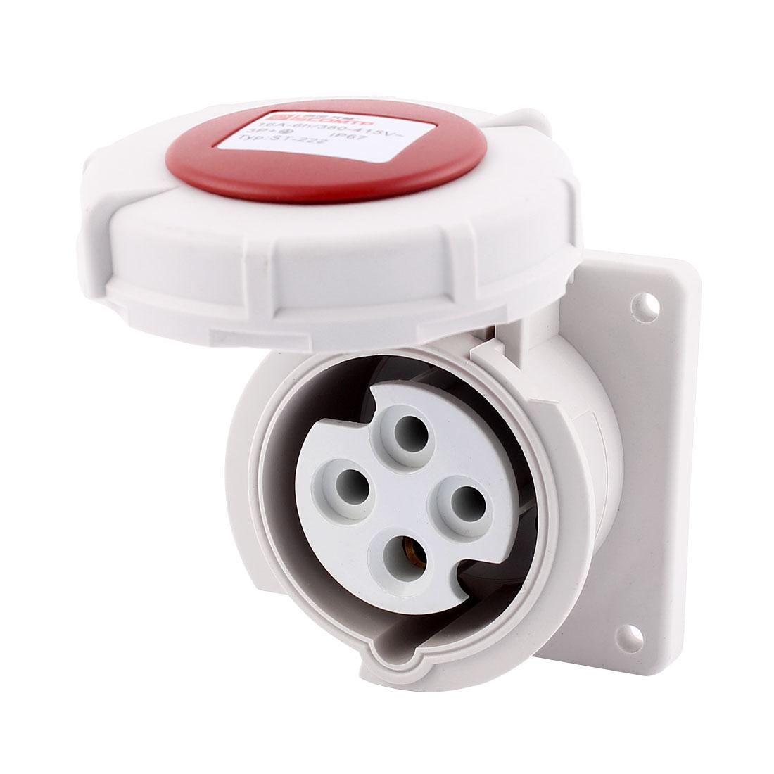 AC 380V-415V 16A IP67 3P+E 4-Terminal Female Industrial Straight Socket