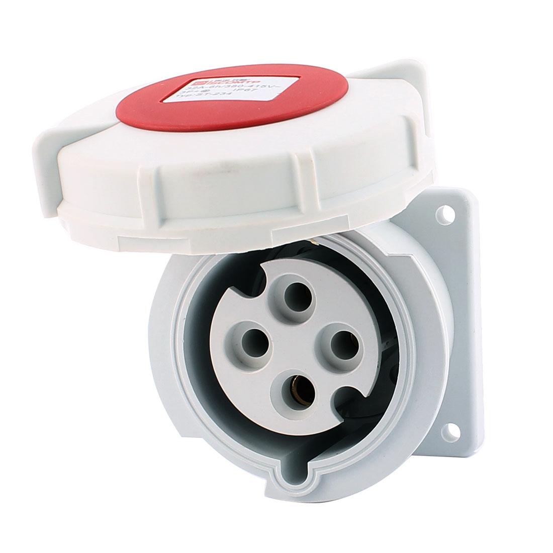 AC 380V-415V 32A IP67 3P+E 4-Terminal Female Industrial Straight Socket