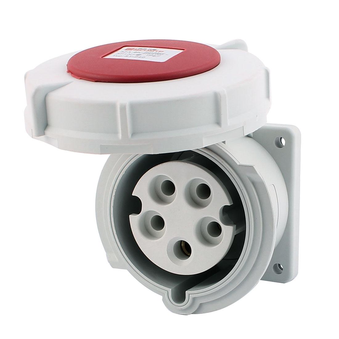 AC 240V-415V 32A IP67 3P+N+E 5-Terminal Female Industrial Straight Socket