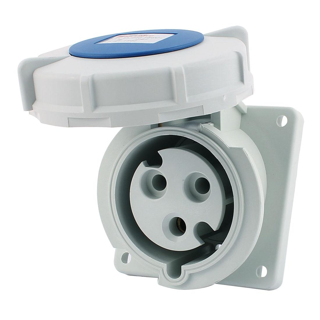 AC 200V-250V 32A IP67 2P+E 3-Terminal Female Industrial Oblique Socket