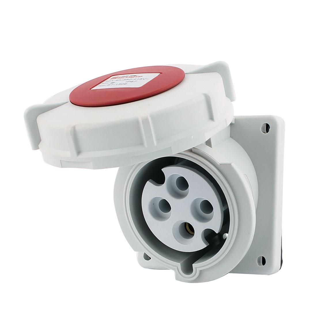 AC 380V-415V 32A IP67 3P+E 4-Terminal Female Industrial Oblique Socket