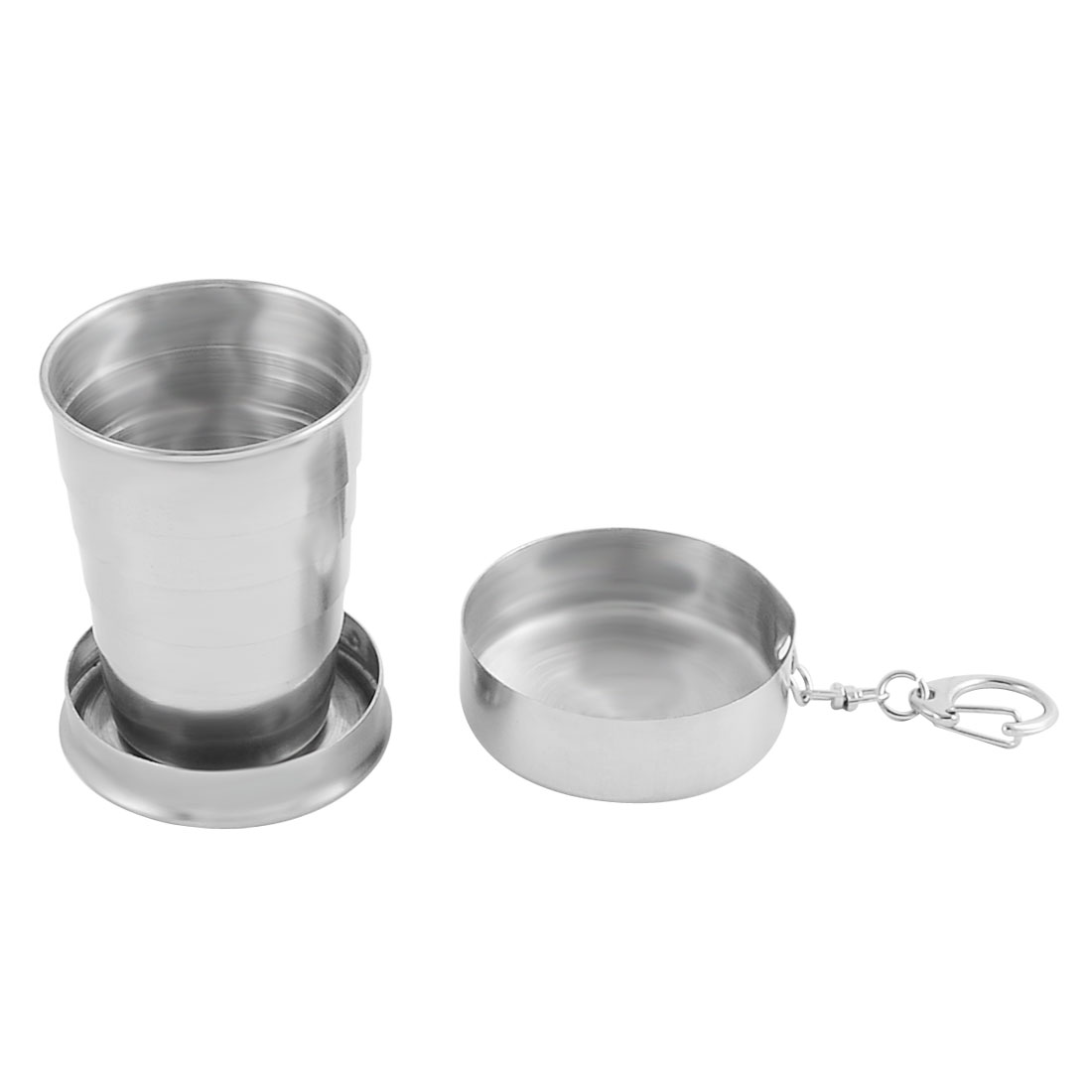 Travel Camping Stainless Steel Portable Folding Drinks Water Cup Silver Tone