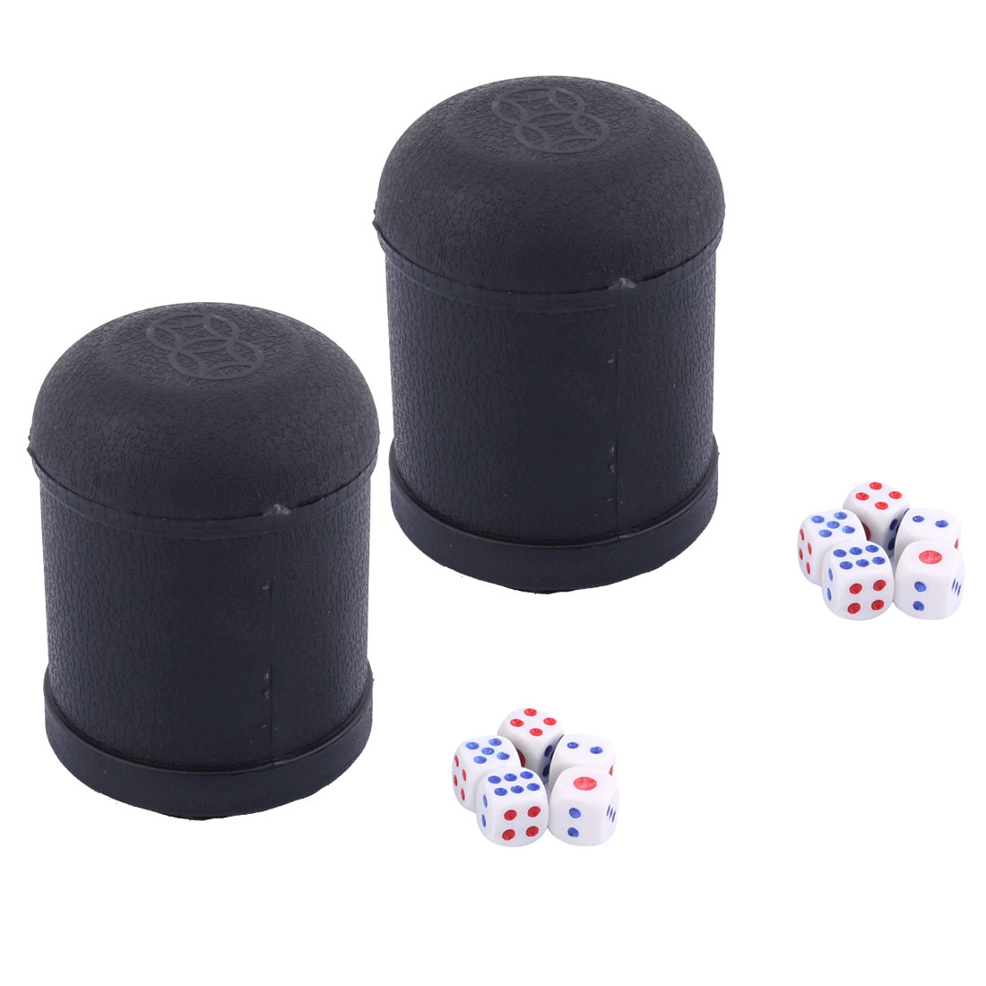 2 PCS KTV Pub Bar Party Casual Toy Plastic Round Shaker Cup Black w 10 Dices