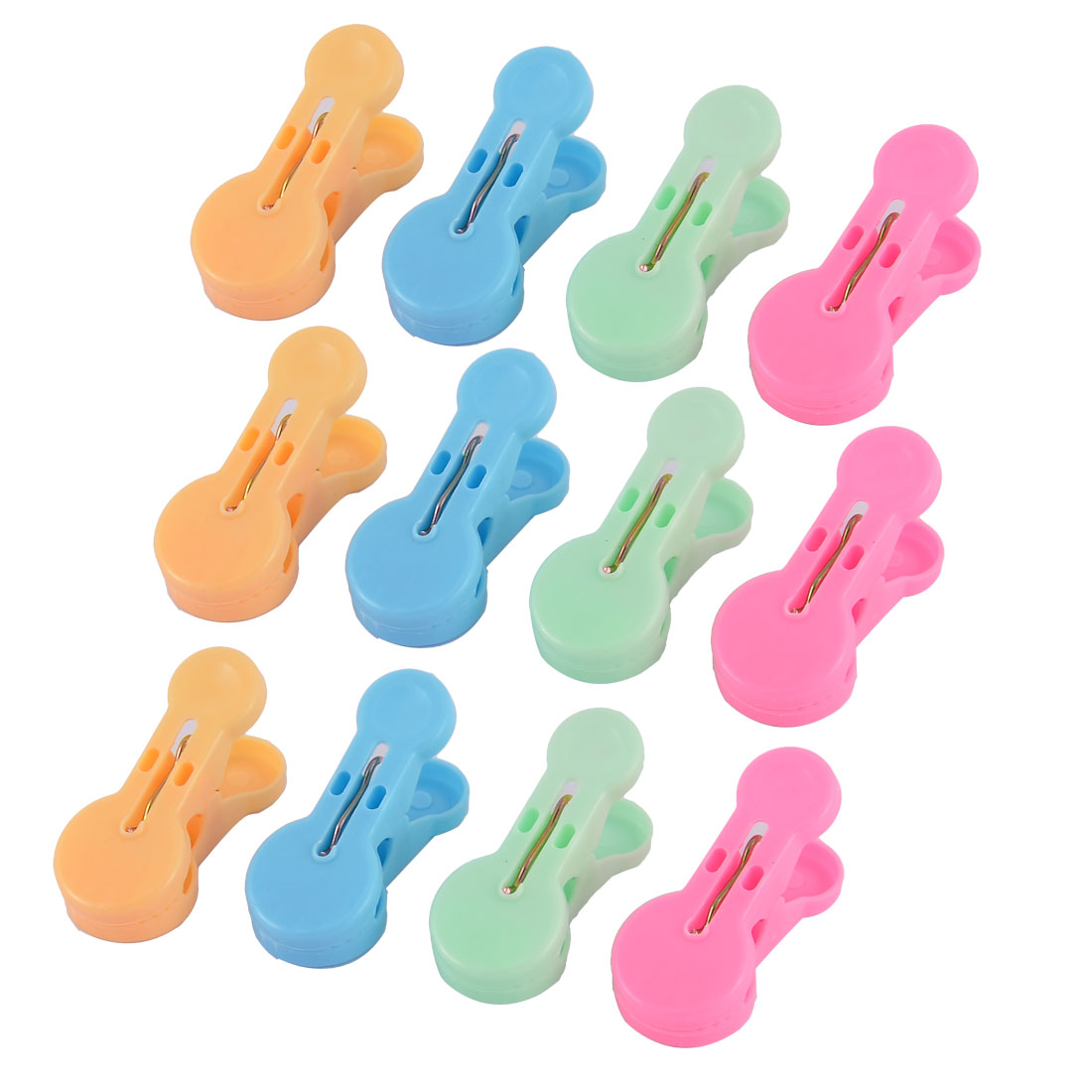 Household Plastic Laundry Clothes Drying Peg Clip Clothespin Assorted Color 12 Pcs