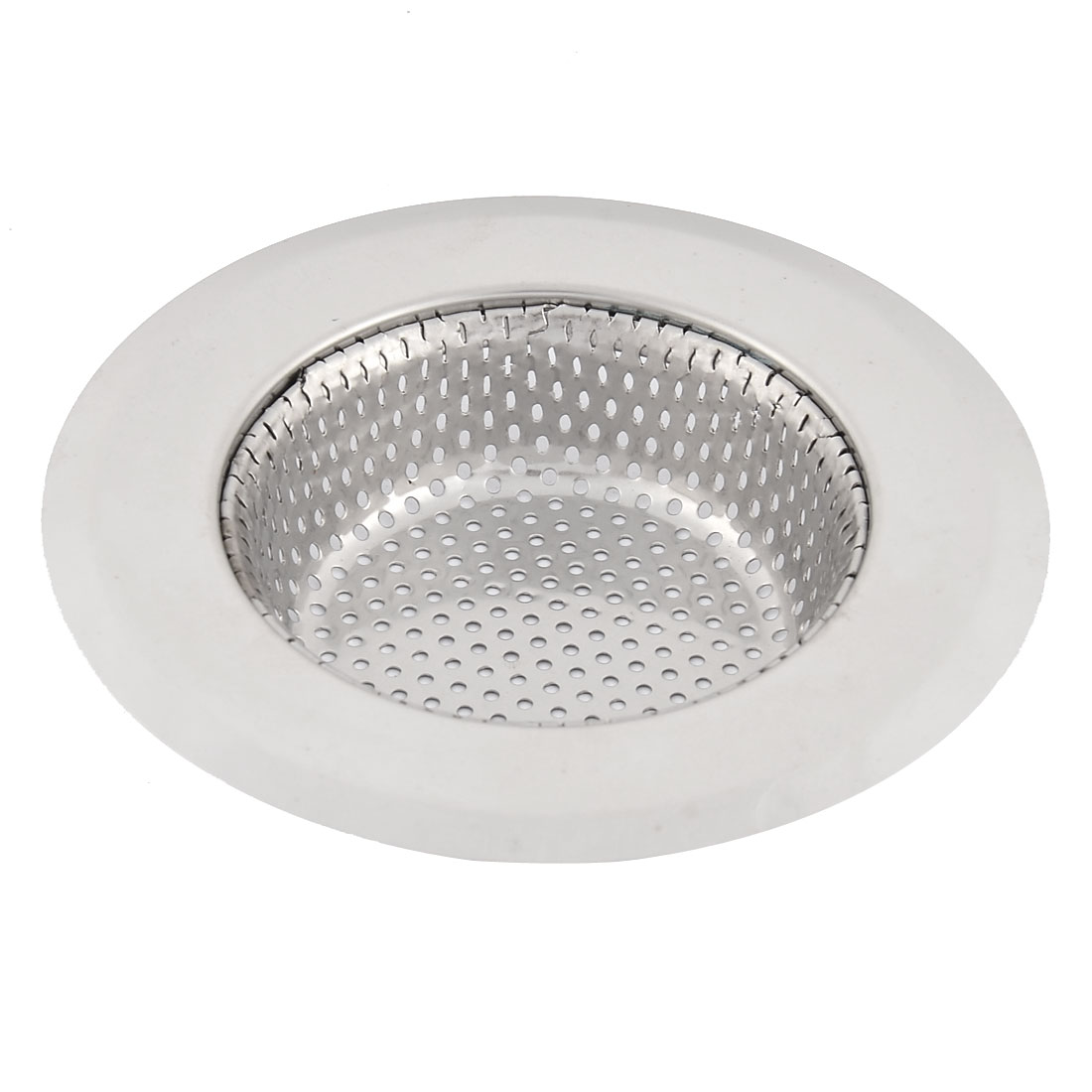 Home Kitchen Stainless Steel Basin Sink Mesopore Strainer Drainer Silver Tone